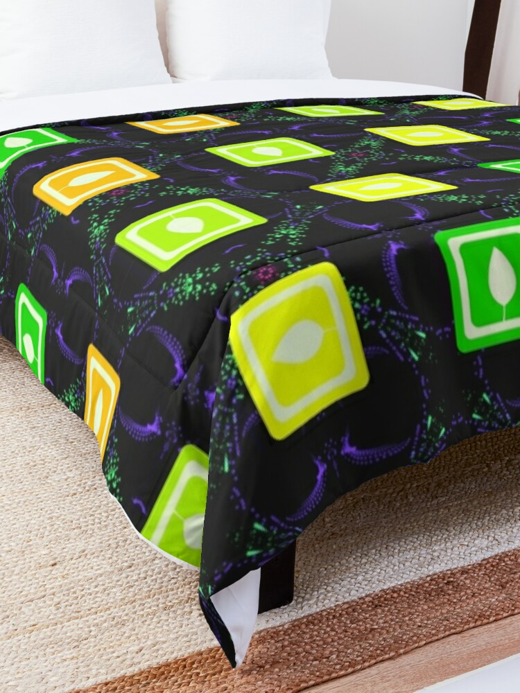 Alternate view of  Modern Spring Leaves Print Comforter