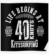 40 Knots Kitesurfing White Graphic Poster
