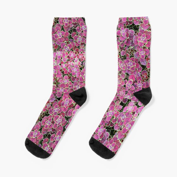 Psychedelic Violet Flowers - Mushroom Therapy Socks