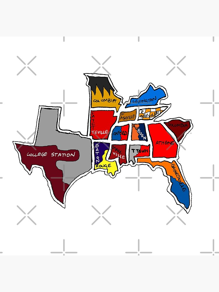 SEC South Eastern Conference With Cities by Statepallets