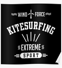 Wind Force Kitesurfing White Graphic Poster