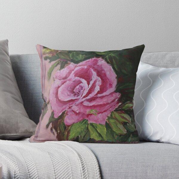 Impressionistic Rose Throw Pillow