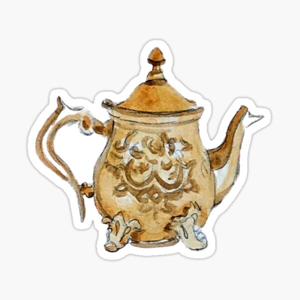 Antique Brass Teapot  Sticker