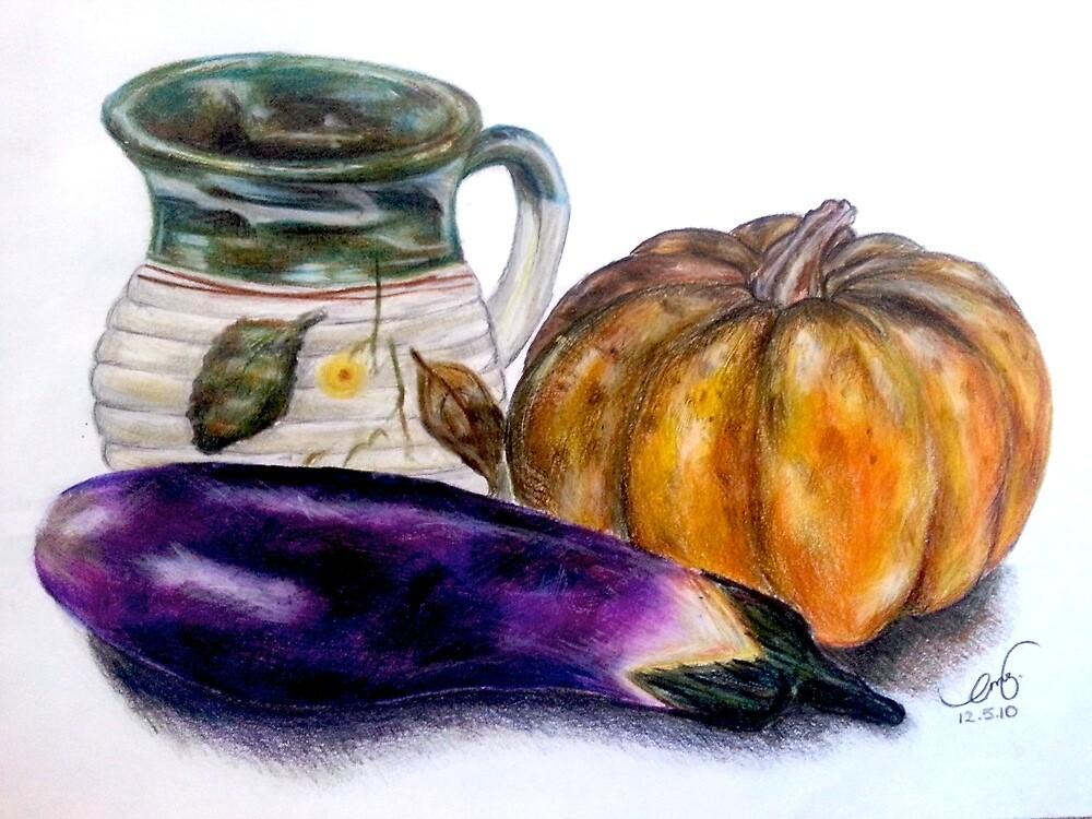 Pot and Vegetables - Still Life Illustration by EmilyZganiacz