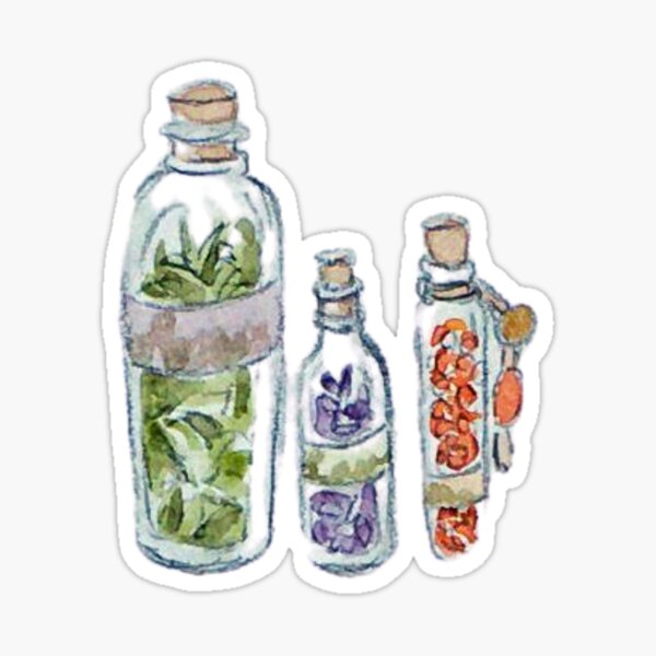 Witchy Vials of Herbs: Lavender, Sage, and Red Pepper Sticker