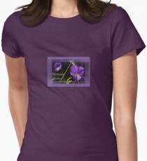 Viola Pansies Birthday Wishes Greeting Womens Fitted T-Shirt