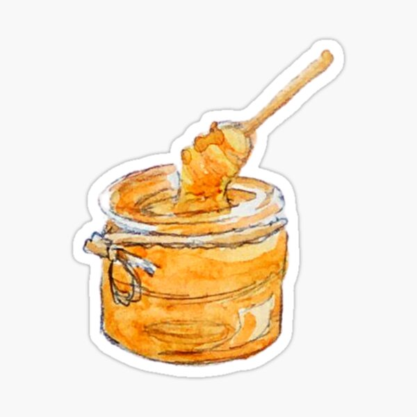 Honey Jar and Wooden Honey Dipper Sticker