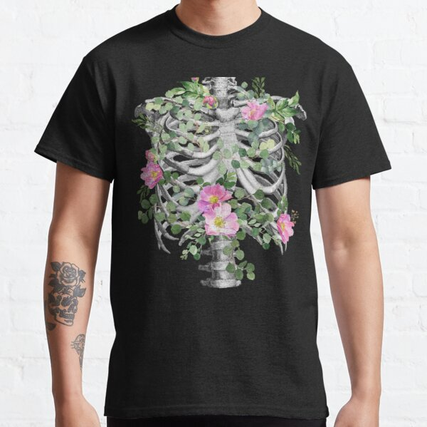 Anatomy, ribcage, rib cage,skeleton pink roses Classic T-Shirt