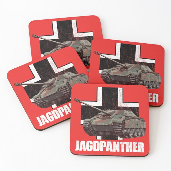 Jagdpanther German Tank Destroyer WW2 Armored Vehicles Coasters (Set of 4)