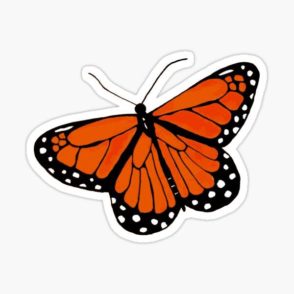 Orange wings, black stripes, and white dots Sticker