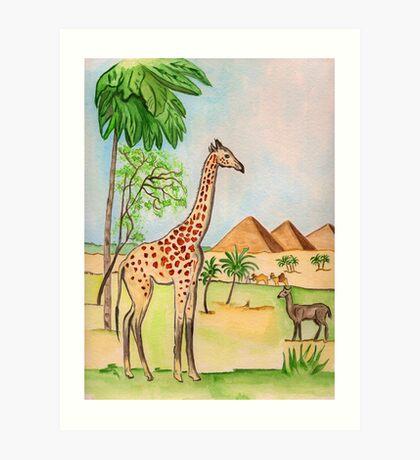 A Giraffe by the Pyramids Art Print
