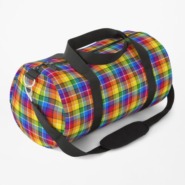 Bright Rainbow Plaid Duffle Bag