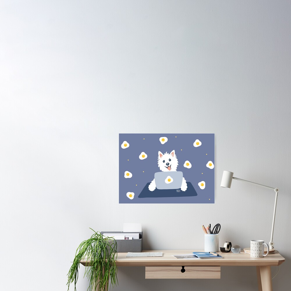 Westie Dog Working From Home Poster
