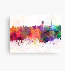 Johannesburg skyline in watercolor background Canvas Print