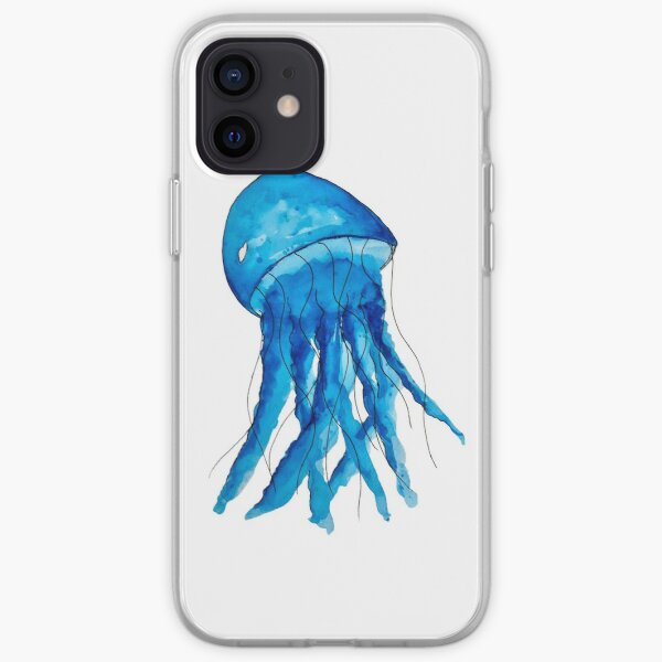 Blue Watercolor Jellyfish iPhone Soft Case