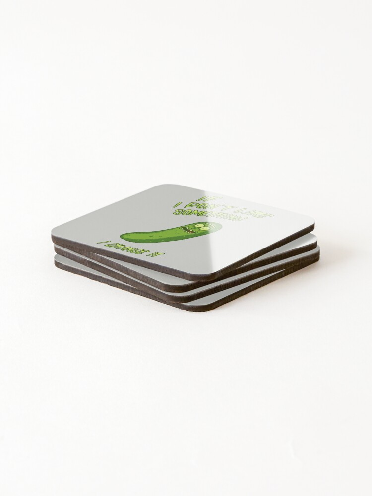 Alternate view of Pickle Rick - If I Don't Like Something - I Change It - Im a Scientist Coasters (Set of 4)