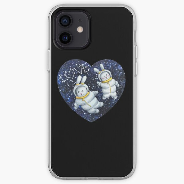 Bunnies astronaut couple lovers in the space with stars iPhone Soft Case