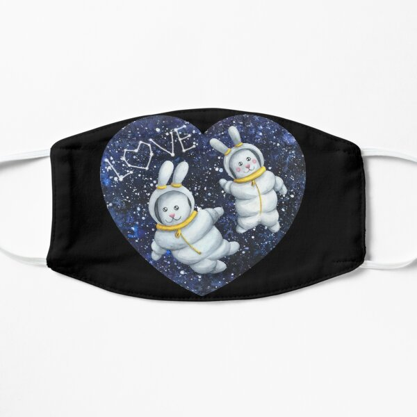 Bunnies astronaut couple lovers in the space with stars Flat Mask