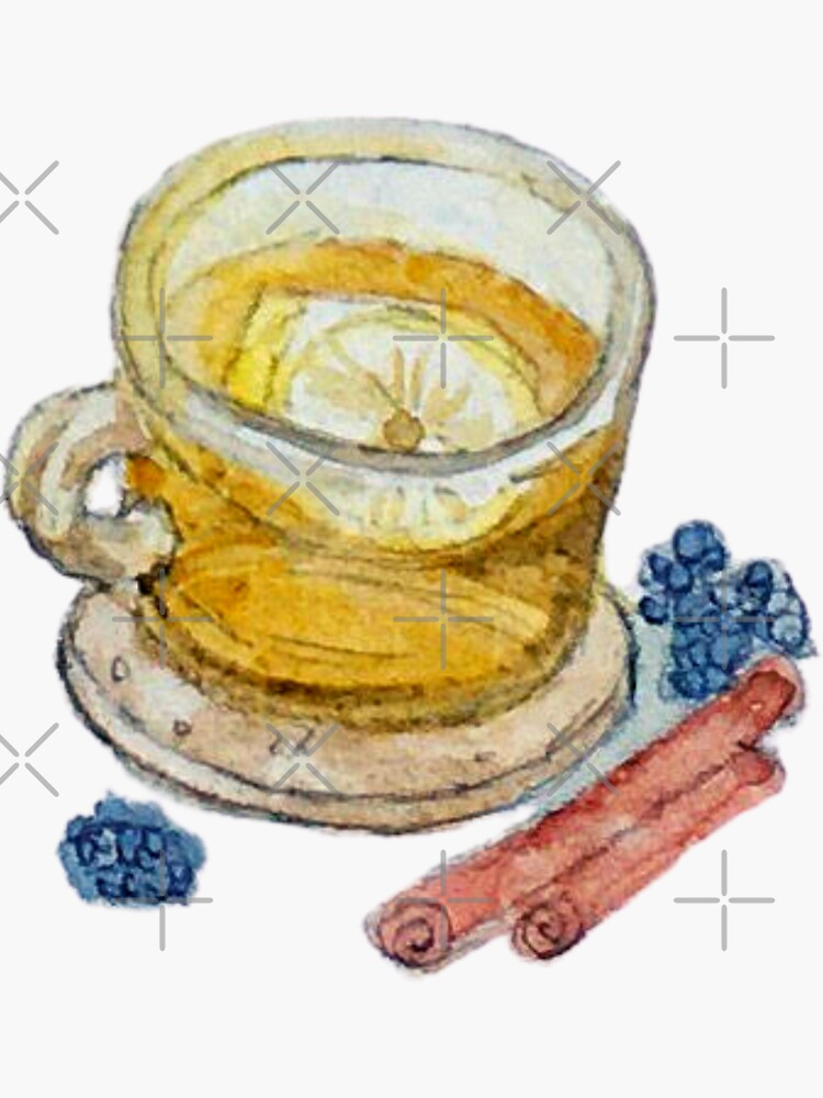 Tea in a Glass Teacup with Lemon and Spices on Cork Coaster by WitchofWhimsy