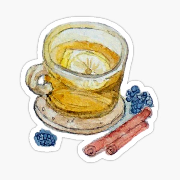 Tea in a Glass Teacup with Lemon and Spices on Cork Coaster Sticker