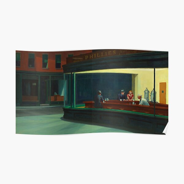 Nighthawks, by Edward Hopper, Oil on Canvas, 1942. Poster