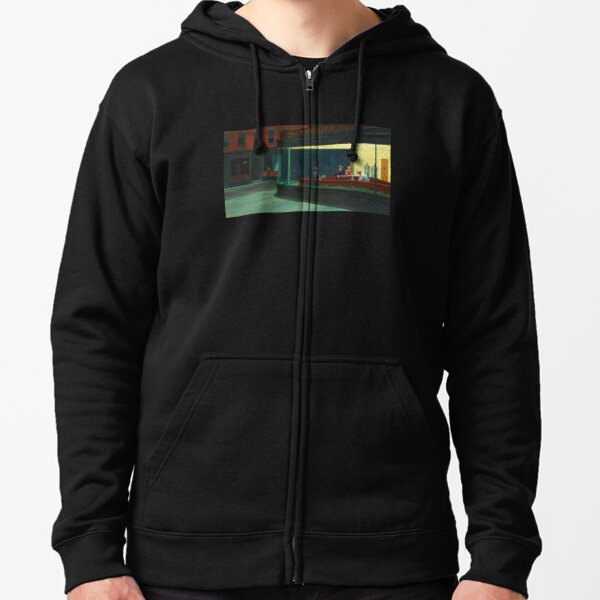 Nighthawks, by Edward Hopper, Oil on Canvas, 1942. Zipped Hoodie