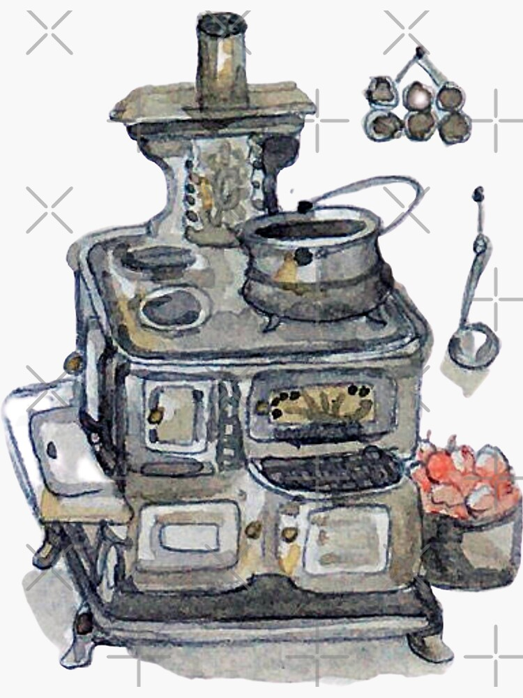 Antique Wood Burning Stove and Cauldron - Witch's Kitchen - Watercolor by WitchofWhimsy