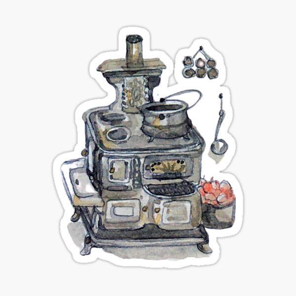 Antique Wood Burning Stove and Cauldron - Witch's Kitchen - Watercolor Sticker