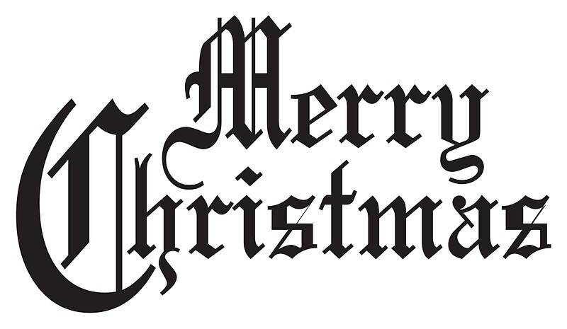 merry christmas old english type xmas christmas festive stickers by tom hill designer. Black Bedroom Furniture Sets. Home Design Ideas