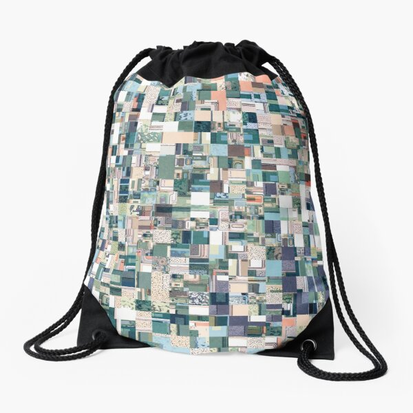 Jumbled Geometric Abstract Drawstring Bag