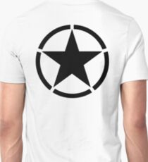 ARMY, Army Star & Circle, Jeep, War, WWII, America, American, USA, Black on White T-Shirt