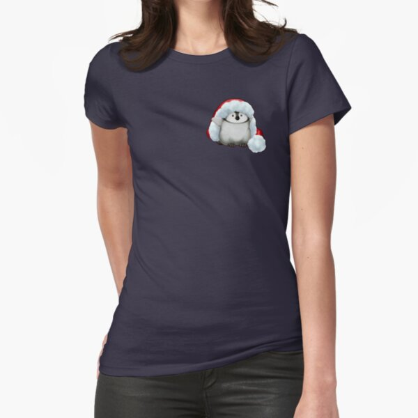 Santa Hat Wearing Baby Emperor Penguin Fitted T-Shirt