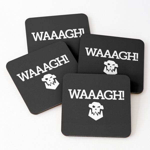 WAAAGH! Slab Text with Skull (white) Coasters (Set of 4)