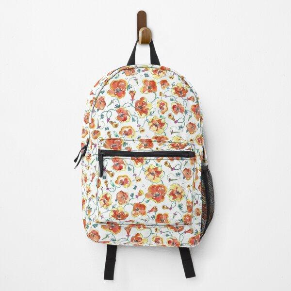 Orange California Poppy Floral Print Backpack