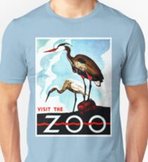 Visit the Zoo, herons, vintage retro WPA Unisex T-Shirt