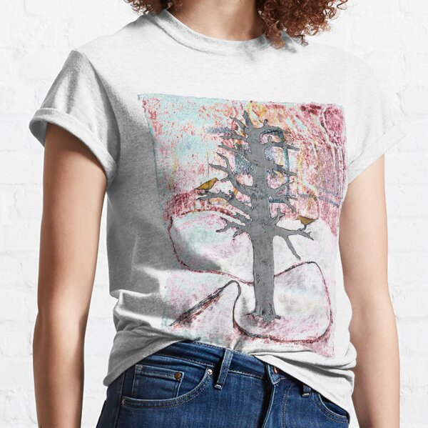Sunset in the Snow with Yellow Birds Classic T-Shirt