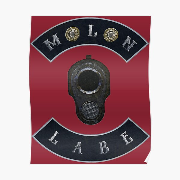 Molon Labe in Rockers with M1911 Colt 45 with Independence Red Background Poster