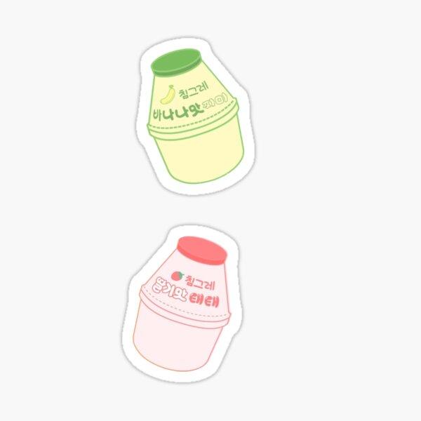 Autocollants coréens de lait de banane et de fraise Sticker