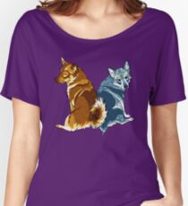 Vallhunds - Orange/Blue Women's Relaxed Fit T-Shirt