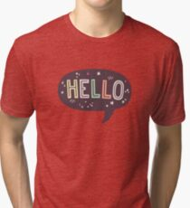 Hello Speech Bubble Typography Tri-blend T-Shirt