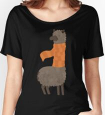 Llama In A Scarf Keeping Warm Women's Relaxed Fit T-Shirt