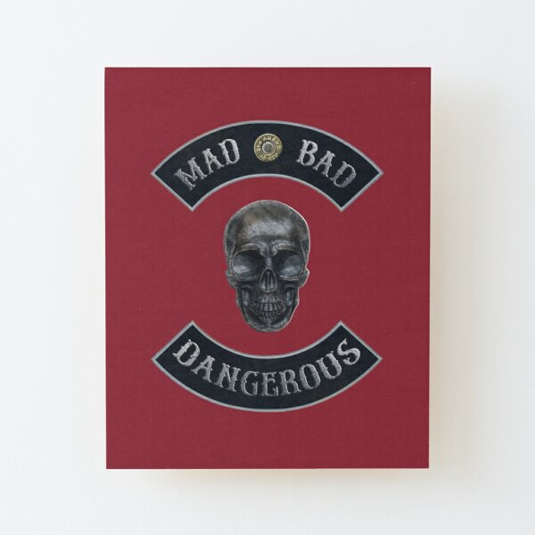 Mad Bad Dangerous in Rockers with M1911 Colt 45 Muzzle with Independence Red Background Wood Mounted Print
