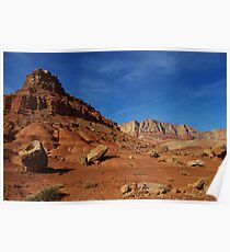 Boulders, red rocks and mountains Poster