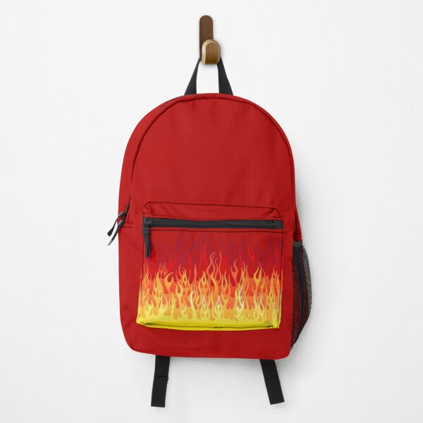 Red Hot Rod Flames on Edge - Red Background Backpack