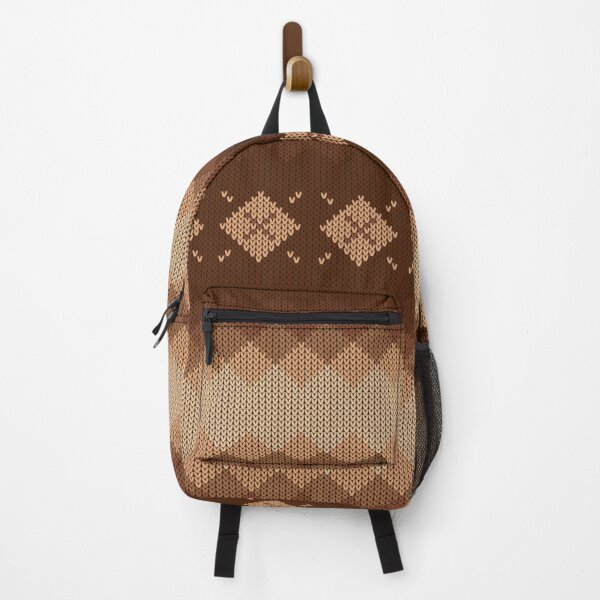 Natural Brown Tan Diamond Knit Style Design for Apparel and Accessories Backpack