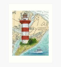 Hilton Head Lighthouse SC Nautical Chart Peek Art Print