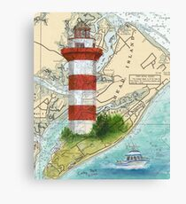 Hilton Head Lighthouse SC Nautical Chart Peek Canvas Print