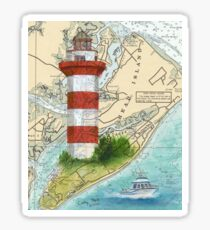 Hilton Head Lighthouse SC Nautical Chart Peek Sticker