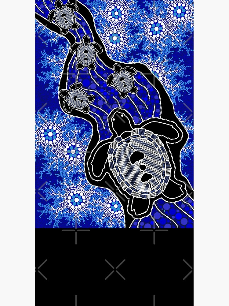 Authentic Aboriginal Art - Baby Sea Turtles by HogarthArts