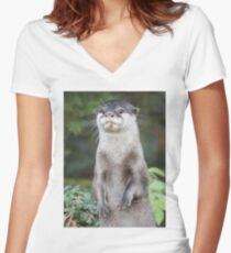Otter paw-trait Women's Fitted V-Neck T-Shirt